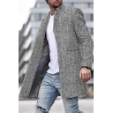 Novelty Mens Coat Double-Faced Woolen Button up Lapel Collar Mid-Length Slim Fit Long Sleeve Coat