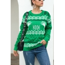 Holiday Christmas Sweater Reindeer Snowflake Pattern Rib-Knit Cuffs Crew Neck Long-sleeved Regular Fit Sweater for Women