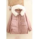 Creative Womens Parka Pocket Decoration Split Hem Fur-Trimmed Hood Button Detail Long Sleeve Loose Fit Parka