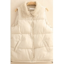 Womens Vest Trendy Thick Bungee-Style Hem Button down Regular Fit Turn-down Collar Sleeveless Down Vest