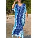 Basic Women's T-Shirt Dress Chevron Pattern Color Block V Neck Short Sleeves T-Shirt Dress