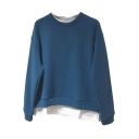 Unique Womens Sweatshirt Contrast Patchwork Trim Fake Two Pieces Thick Loose Fit Long Sleeve Crew Neck Pullover Sweatshirt