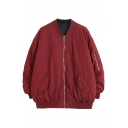 Classic Womens Jacket Plain Thick Convertible Zipper Detail Long Sleeve Stand Collar Loose Fit Varsity Jacket