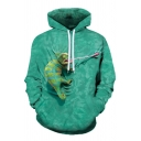 Stylish Men's Hoodie 3D Lizard Animal Pattern Long Sleeve Fitted Hooded Sweatshirt