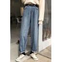 New Arrival Retro High Waist Simple Plain Loose Flared Jeans