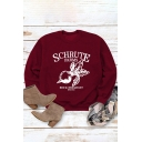 Leisure Womens Long Sleeve Round Neck Letter Radish Graphic Relaxed Fit Tee Top in Burgundy