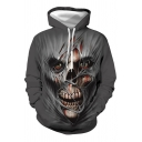 Creepy Mens Skull 3D Pattern Long Sleeve Drawstring Pouch Pocket Loose Fit Hoodie in Gray