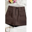 Womens Shorts Trendy Solid Color Woolen Zipper Fly Wide Leg High Waist Regular Fitted Relaxed Shorts