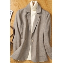 Fancy Women's Jacket Woolen Front Pocket Button Closure Long-sleeved Regular Fitted Suit Jacket