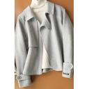 Novelty Womens Coat Plain Double-Sided Zipper up Turn-down Collar Regular Fit Long Sleeve Wool Coat