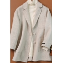 Womens Coat Chic Chevron Woollen Double Pockets Front Button up Notched Lapel Collar Loose Fit Long Sleeve Wool Coat