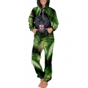 Novelty Womens 3D Jumpsuit Leaf Cartoon Figure Galaxy Splash Stripe Geometric Print Thick Hooded Regular Fitted Long Sleeve Jumpsuit