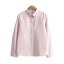 Trendy Women's Shirt Lace Trim Solid Color Button Fly Turn-down Collar Plushed Fur Long Sleeves Regular Fitted Shirt