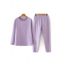 Fancy Women's Co-ords Solid Color Elasticity Crew Neck Long Sleeves Fitted Tee Top with Drawstring Waist Pants Set