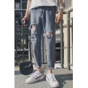 New Stylish Light Blue Rolled Cuff Loose Fit Ripped Jeans for Men