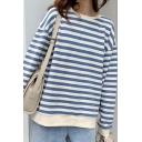Trendy Women's Sweatshirt Vertical Stripe Pattern Contrast Trim Round Neck Long-sleeved Relaxed Fit Sweatshirt