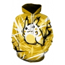 3D Cartoon Pattern Long Sleeve Pullover Hoodie in Yellow