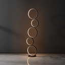 Twisted/Wavy Linear/Bubble LED Floor Light Novelty Minimalist Black Standing Floor Lamp in Warm/White Light
