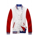 Chic Color Block Print Single Breasted Stand-Up Collar Baseball Jacket