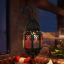 Moroccan Lantern Wall Sconce 1-Light Stained Glass Wall Mounted Lamp in Black for Bistro