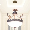 3 Lights Chandelier Pendant Traditional Hemisphere White Glass Ceiling Hang Lamp with Carved Trim, 12
