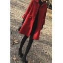 Vintage Women's Woolen Coat Solid Color Rolled up Cuffs Button Closure Peter Pan Collar 3/4 Sleeves Regular Fitted Coat