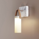 Frosted White Glass Cylindrical Wall Light Designer Integrated LED Sconce with Leather Strap and Marble Backplate