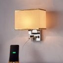 White/Flaxen Cuboid Wall Lighting Modern 1 Bulb Fabric Wall Light Sconce with Outlet and USB Port