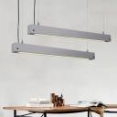 Grey 1 Head Pendant Lighting Simplicity Cement Horizontal Bar Hanging Ceiling Light