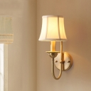 Fabric Flared Shade Wall Light Rustic Single Living Room U-Arm Wall Sconce in Gold