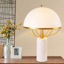 Designer Umbrella Shaped Table Light White Glass 2-Bulb Living Room Nightstand Lamp in Gold with Cylinder Marble Base