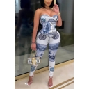 Womens Jumpsuit Trendy Dollar Bill Print Skinny Fitted Strapless Sleeveless Jumpsuit