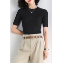 Elegant Women's T-Shirt Solid Color Elasticity Rib Knit Crew Neck Short-sleeved Slim Fitted Tee Top
