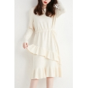 Stylish Women's Sweater Dress Solid Color Tiered Ruffles Detail Ribbed Cuffs Drawstring Waist Crew Neck Long Sleeves Regular Fitted Sweater Dress