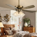 Copper/Bronze 3 Lights Semi-Flush Mount Rustic Clear Glass Scalloped 5-Blade Ceiling Fan Light with Pull Chain, 42