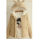 Womens Jacket Chic Solid Color Zipper down Loose Fit Long Sleeve Hooded Parka