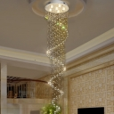 1/3/6-Light Crystal Flush Light Modern Stainless Steel Spiral Living Room Ceiling Mounted Lamp