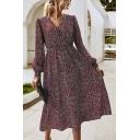Elegant Women's A-Line Dress Ditsy Floral Printed V Neck Long Bishop Sleeves Maxi A-Line Dress