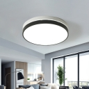 Simplicity LED Flush Light Black-White Round/Square/Rectangle Ceiling Mounted Lamp with Acrylic Shade