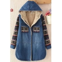 Womens Jacket Stylish Tribal Style Geometric Pattern Patchwork Sherpa Lined Flap Chest Pockets Mid-Length Loose Fit Long Sleeve Hooded Denim Jacket
