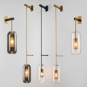 Transparent Glass Capsule Wall Light Post-Modern 1-Light Black/Gold Wall Hanging Lamp with Mesh Screen Inside