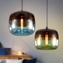Drum Kitchen Bar Pendant Light Fixture Blue/Green and Brown Glass Single Nordic Hanging Lamp Kit