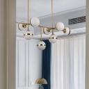 Cream Ball Glass Branching Island Lamp Postmodernist 3/5 Bulbs Gold Suspended Lighting Fixture