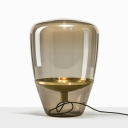 Novelty Modern Tapered Shade Night Lamp Clear/Smoke Grey/Cognac Glass Single Bedroom Table Light in Black/Brass