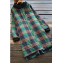 Leisure Women's Down Coat Plaid Pattern Contrast Color Drawstring Hooded Button-up Asymmetrical Hem Long Sleeves Relaxed Fit Down Coat