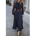 Classic Womens Dress Ditsy Floral Pattern Long Sleeve Maxi A-Line Slim Fitted Tie Neck Swing Dress