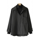 Classic Womens Shirt Vertical Pinstripe Pattern False Two Pieces High-Low Hem Chest Pocket Long Sleeve High Neck Loose Fit Pullover Shirt