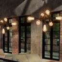 Crossed Pipe Iron Drop Lamp Industrial 7 Heads Bistro Chandelier Light in Antique Bronze