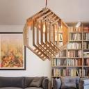 Single-Bulb Living Room Pendant Lighting Modern Beige Ceiling Hang Lamp with Hexagon Wood Cage