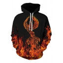 Cool Fire Phoenix Dragon Beast 3D Printed Long Sleeve  Casual Drawstring Hoodie with Pocket
